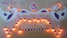 Beautiful Welcome Rangoli Designs with Colours For Festivals - Functions special Rangoli - By Maya! Indian Rangoli Designs, Colorful Rangoli Designs, Rangoli Designs Images, Rangoli With Dots, Simple Rangoli, Diwali Decorations, Flower Decorations, Welcome Rangoli, Peacock Rangoli