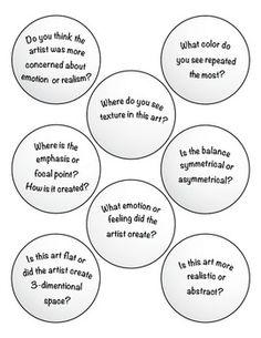 Art Critique with Ping Pong Balls by Expressive Monkey High School Art, Middle School Art, Art Analysis, Art Doodle, Art Critique, Art Handouts, Art Criticism, Art Worksheets, Art Curriculum