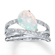 Lab-Created Opal Ring With Diamonds Sterling Silver