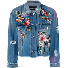 Marco Bologna embellished apliques cropped denim jacket (7.460 RON) ❤ liked on Polyvore featuring outerwear, jackets, blue, blue jackets, jean jacket, cropped jacket, cropped denim jacket and blue jean jacket