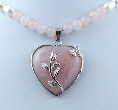 Pink Quartz Gemstone and Rose Heart by RivendellRockJewelry