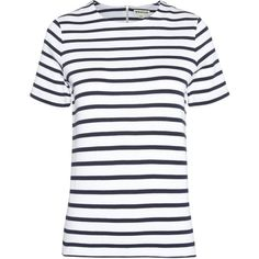 Whistles Zip Back Stripe Clean Tee (115 CAD) ❤ liked on Polyvore featuring tops, t-shirts, zip t shirt, striped t shirt, zipper t shirt, white t shirts and white stripes t shirt