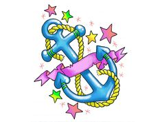 Girly Anchor Tattoos | Girly Anchor With Stars And Hearts Tattoo Wallpaper - anchor tattoos ...