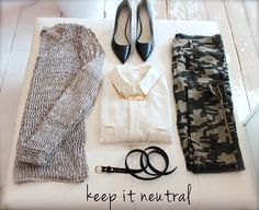 camouflage, pants, fashion, style, how to wear it, heels, neutral sweater, cute outfit, necklace, blush style,