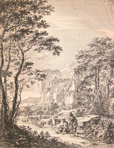 """Jan Both. """"Landscape with Travelers."""" 17th century. Engraving."""