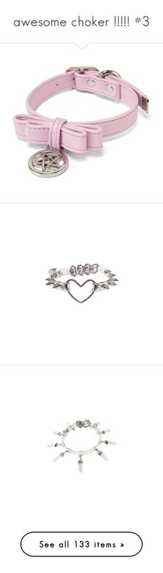 """awesome choker !!!!! #3"" by jellyfox-w ❤ liked on Polyvore featuring jewelry, necklaces, accessories, chokers, collars, blue necklace, heart shaped necklace, choker collar necklace, spike necklace and spiked choker"