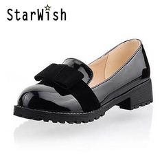 23638ba0338 New Round Toe Slip-on Women Loafers Fashion Bow Patent Leather Women Flat  Shoes Ladies Casual Flats Big Size 34-43 Women Oxfords