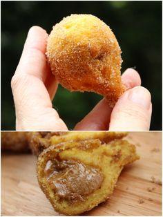 COXURROS ou Coxinha doce, a coxinha feita com com massa de churros recheada com o delicioso doce de leite feito na panela de pressão humm ...