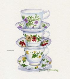 Stack of Tea Cups Print Free Shipping by CottageArtStudio on Etsy, $9.50