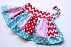 Girls skirt aqua red pink chevron and polka dot  skirt girls chevron skirt  summer skirt clothing skirt outfit set girls toddler christmas