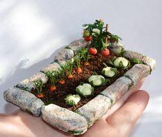Miniature garden dollhouse garden miniature vegetable to order dollhouse miniature plant miniature flowers scale one inch scale of 1 12 Miniature Plants, Miniature Fairy Gardens, Fairy Gardens For Kids, Diy Dollhouse Miniatures, Barbie Miniatures, Miniature Rooms, Fairy Furniture, Barbie Furniture, Resin Furniture