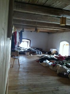 Reenactment at Castle Malesov, Kutna Hora, Czech Republic. September 2, 2012. Dormitory for visiting reenactors.