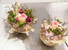 """Would be fabulous spring """"posy"""" type centerpieces add just three tightly packed spray rose posies and candles and you'll have beauty, charm &ambiance!"""