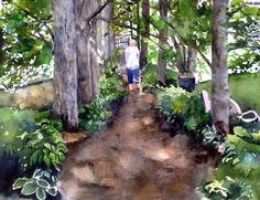 Backyard path watercolor painting by Cheryl Olson.