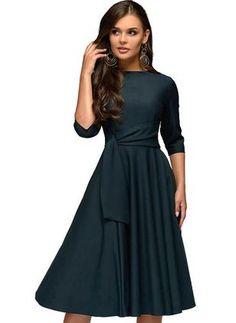 15746588ea5 Solid Ruffles 3 4 Sleeves Midi X-line Dress (1955367795) Casual Work