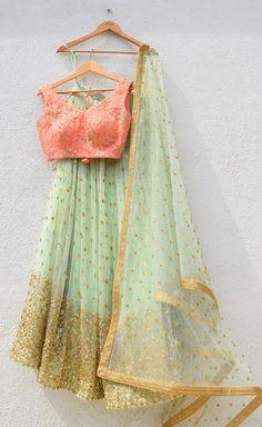Indian Designer Wear-Mint Gold Lehenga with Orange Blouse Indian Lehenga, Gold Lehenga, Green Lehenga, Lehenga Choli, Anarkali, Lehenga Designs Simple, Lengha Blouse Designs, Simple Lehenga, Saree Blouse
