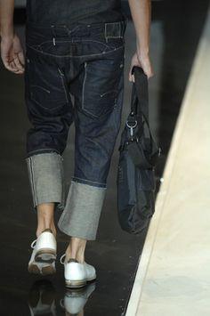 turn-ups & carrots Harem Pants Men, Denim Pants, Trousers, Rare Clothing, Dapper Dan, Jeans And Flats, Double Denim, Raw Denim, Vintage Denim
