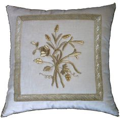 b vizard pillow | Antique European Raised Gold Metallic Embroidery at 1stdibs