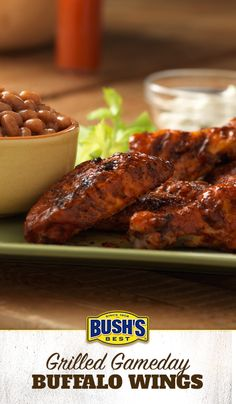 Grilled Gameday Buffalo Wings: A must-have for your tailgate party! Cool off these spicy wings with a side of sweet BUSH'S® Maple Cured Bacon Baked Beans.