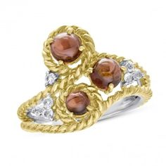 Viola Collection, Sterling Silver and Rose Gold Plated White Topaz & Garnet Ring