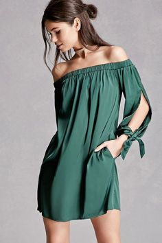 satin mini dress featuring an off-the-shoulder design, vented long sleeves with self-tie straps, and an elasticized waist. This is an independent brand and not a Forever 21 branded item. Cute Dresses, Casual Dresses, Short Dresses, Fashion Dresses, Dress Long, Fashion Clothes, Green Summer Dresses, Summer Outfits, Mode Outfits