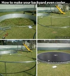 A trampoline is awesome. In ground trampoline is even better Trampolines, In Ground Trampoline, Backyard Trampoline, Sunken Trampoline, Outdoor Play, Outdoor Living, Outdoor Decor, Underground Trampoline, Backyard For Kids