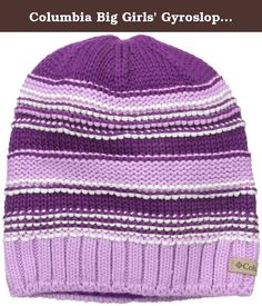 Columbia Big Girls' Gyroslope Beanie, Iris Glow, O/S. Banish winter chill with this fun and functional beanie. Whether they're waiting for the bus or streaking down the slopes, keep heads snug in this colorful acrylic knit topper lined with soft microfleece. Happy sledding and shredding.