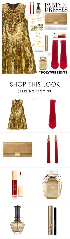 """#PolyPresents: Party Dresses"" by tamara-p ❤ liked on Polyvore featuring Gucci, Steve Madden, Furla, Yves Saint Laurent, Victoria's Secret, Anna Sui, Stila, contestentry and polyPresents"