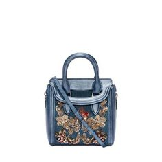 ALEXANDER MCQUEEN, Shoulder Bag, Washed Denim Embroidered Mini Heroine