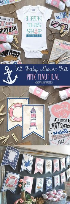 ANCHORS AWAY!!  Hosting a Large Baby Shower? Then it'll be Smooth Sailing planning your Baby Shower with this Pink and Navy Nautical Onesie® Decorating kit! No need to stress over printing, assembling, or hunting down supplies. Carefully crafted, these kits have everything you need to entertain you Baby Shower guests with some Do-It-Yourself fun, and keep your baby the most stylish kid on the block!  …………………………………. LARGE KITS INCLUDES: • 2 Nautical themed banners in shades of Pink and Navy…