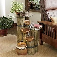 Side table & fountain ~ I LOVE this! Perhaps add a lil varnish, but either way it's so nice. Table Fountain, Diy Water Fountain, Garden Water Fountains, Waterfall Fountain, Indoor Fountain, Log Side Table, Clay Bowl, Feng Shui, Garden Design