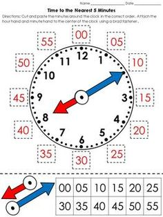 Time: Clock Cut and Paste Activity - Telling Time to the Nearest 5 Minutes Time can be a difficult concept for students to understand. Teaching Clock, Teaching Time, Teaching Math, Telling Time Activities, Autism Activities, School Worksheets, Clock Worksheets, Math Measurement, 2nd Grade Math