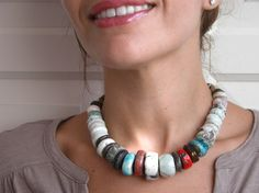 raku ceramic disks beads necklace ethnic colorful by CeramicManya, €80.00