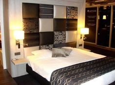 Bedroom,Appealing Fun Modern Bedroom Color Scheme Design Ideas With Stylish Platform Bed On Combined Black Bed Frame And Soft White Mattress Also Cool Over Height Headboard Plus Beautiful Cream Double Drum Shade ,Fabulous Bedroom Color Schemes Decoration