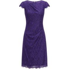 Adrianna Papell Pleat Detail Lace Sheath Dress, Dark Purple (€175) found on Polyvore