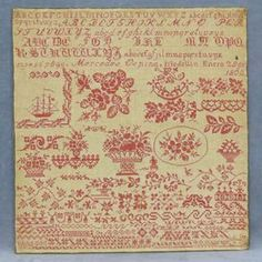 SPANISH COLONIAL CROSS STITCH SAMPLER ON HOMESPUN, MERCEDES OSPINA MEDELLIN 28 DEC, 1863. 23 X 22""