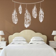 Feather Wall Decal Feather Decor Bohemian Bedroom by PonyDecal