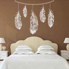 Pluma pluma etiqueta decoración Bohemia dormitorio por PonyDecal