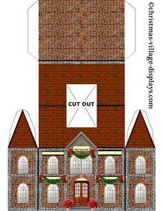 ideas for vintage paper crafts templates putz houses Christmas Village Display, Christmas Villages, Christmas Decorations, Christmas Paper, Christmas Projects, Christmas Home, Christmas Mantles, Victorian Christmas, Christmas Christmas