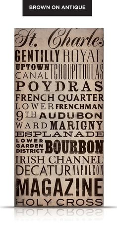 New Orleans Streets Typography graphic art on canvas 18 x 36 x 1.5 by stephen fowler