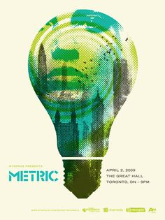 Halftone has been applied to the image - model, cityscape, lightbulb and whirl. Green, teal and black. Simple and basic application of text information. The logo doesn& take way from the poster, it remains quite subtle but in the same breath important. Poster Design, Graphic Design Posters, Graphic Design Typography, Graphic Design Illustration, Graphic Design Inspiration, Print Design, Layout Inspiration, Rock Posters, Concert Posters