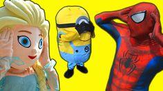 Frozen Elsa Spiderman Hide & Seek Pinocchio Nose!/ Minion Joker Frozen E...