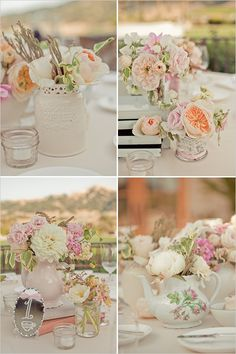 I am almost certain that we will be using old books as parts of our centerpieces - they will also be a part of other wedding things, ie, our vows I really like the pale colors of the flowers here but I think I want a little more color variety