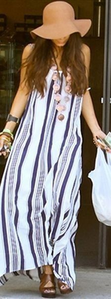 #summer #cool #outfitideas | Stripe Boho Maxi Dress