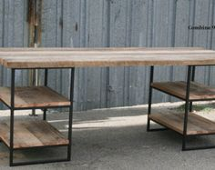 Reclaimed Wood (Oak) Desk with shelves. Steel. Custom dimensions/configurations available. Vintage Industrial. Urban. Modern. Rustic. Table.