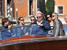 George Clooney and Amal Alamuddin were seen arriving with close  friends Cindy Crawford and Rande Gerber.