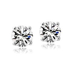 4ea2704e2a28 Crystal Ice Sterling Silver Birthstone Stud Earrings Made with Swarovski  Crystal (April-Clear)