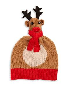 Collection 18 Knit Reindeer Hat Women's Brown