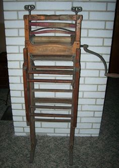 1896 Antique Wood WRINGER WASHER Folding Double Bench - Anchor Brand
