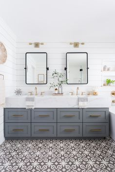 Beautiful master bathroom decor some ideas. Modern Farmhouse, Rustic Modern, Classic, light and airy bathroom design suggestions. Bathroom makeover suggestions and bathroom remodel tips. Bathroom Sconces, Bathroom Renos, Small Bathroom, Bathroom Vanities, Neutral Bathroom, Remodel Bathroom, Budget Bathroom, Bathroom Renovations, Shiplap Bathroom Wall